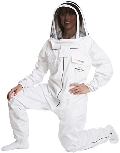 Natural Apiary - MAX PROTECT - BEEKEEPING SUIT - WHITE - EXTRA LARGE - (One Piece) - Clear View Fencing Veil - Maximum Protection - Professional & Beginner Beekeepers 1