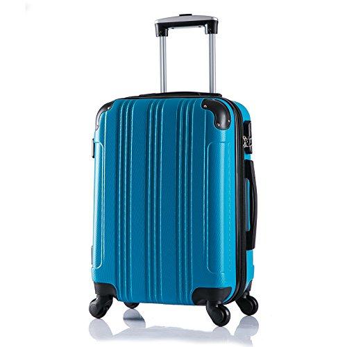 WOLTU RK4205ts Reise Koffer Trolley Hartschale mit erweiterbare Volumen , Reisekoffer Hartschalenkoffer 4 Rollen , M / L / XL / Set , leicht und günstig , Türkis (M, 56 cm & 42 Liter)
