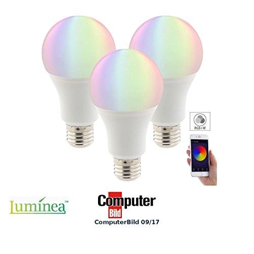 Luminea Echo LED-Birne: 3er-Set WLAN-LED-Lampen, komp. mit Alexa Voice Service, 10 W, RGBW, A+ (E27-RGBW-LED-Lampe mit App, kompatibel mit Alexa Voice Service)