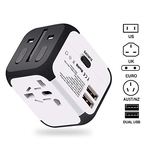 2 USB 3.0 Adattatore da viaggio(UE/USA/Regno Unito/AUS) Adattatori universali da viaggio Utilizzati in più di 150 paesi Caricabatterie con due fusibil (fusibile di ricambio) - Bianco