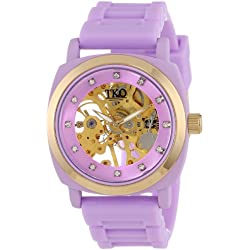 TKO ORLOGI Women's TK626VT Milano Violet Rubber Mechanical Movement Skeleton Watch