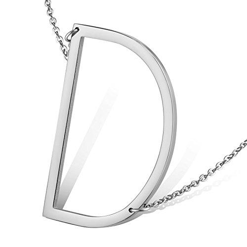 Aeici argento collana per uomo/donne design unico lettera maiuscola forma d lunghezza: 49cm