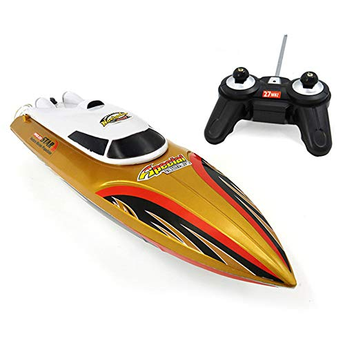 WXIAORONG RC Mini Boat, Electric Submarine Model Remote Control Boat Toy for Pools and Lakes 2.4GHz High Speed RC Racing Boats for Adults & Kids Summer Beach Toys,Gold