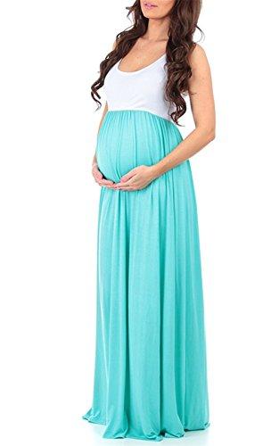 LANOMI Damen Umstandskleid Mutterschaft Umstandsmode Lange Maxikleid Sommerkleid Schwangerschafts Kleid Ärmellos Stillkleid (Grün) - 2