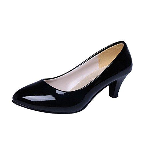 Chaussures à Talons Bas, GreatestAPK Femme Nude Shallow Mouth Office Talons de Travail Élégant (36 EU, Noir)