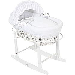 El británico de lujo hizo la cesta de mimbre blanca de los Moisés con las cubiertas de preparación blancas de la melcocha de la burbuja. Inc Base de Rocking Deluxe