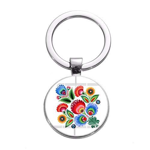DCFVGB Schlüsselbund Volksmuster Keychain Silber Überzogenes Papier Ausschnitt Element Blume Handgemachtes Foto Glas Cabochon Schlüsselring