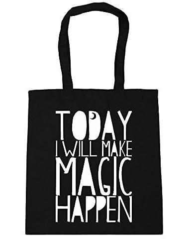 HippoWarehouse Today I will Make Magic Happen Crescent Moon Tote Shopping Gym Beach Bag 42cm x38cm, 10