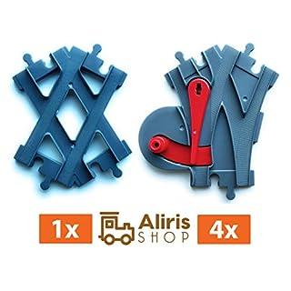Aliris 4 Weichen, 1 Schienenkreuz Kreuzung - Zubehörset - Dunkelgraue - Kompatibel mit Duplo