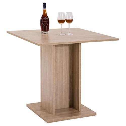 IDIMEX Table de Salle à Manger Ancona Table de Cuisine carré comptoir avec Pied Central, décor chêne Sonoma