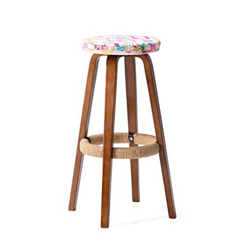 BOBE SHOP Style simple, bois massif, modèle doux coussin, Bar Creative chaise haute style européen chaise en bois Vintage tabouret de bar hauteur 69cm (Couleur : C)