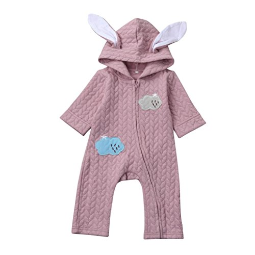 Longra Baby Overall Strampler mit Kapuze Baby Mädchen Jungen Kaninchen 3D Ohr Wolke Strampler Jumpsuit Overall Kleidung (Pink, 90CM...