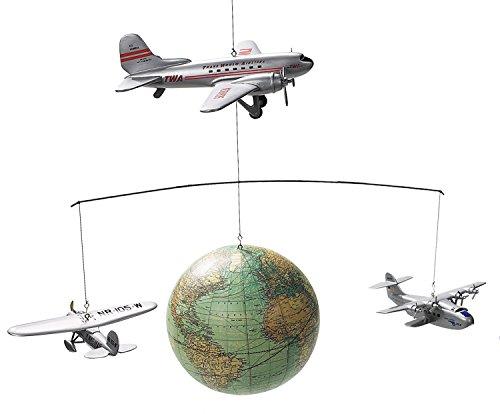 """Authentic Models - Mobile \"""" Rund um die Welt \"""" mit Flugzeugen und Weltkugel im Retrostil"""