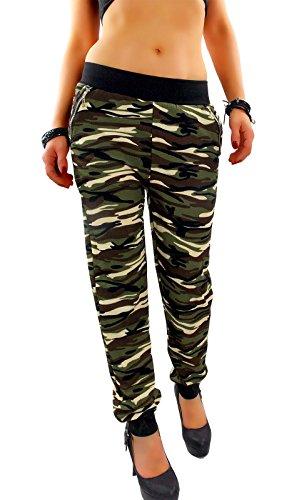 Damen Military Army Jogging Jogger Freizeit Sport Hose Camouflage Tarnmuster mit Gummibund, Style:B, Größe:S/M