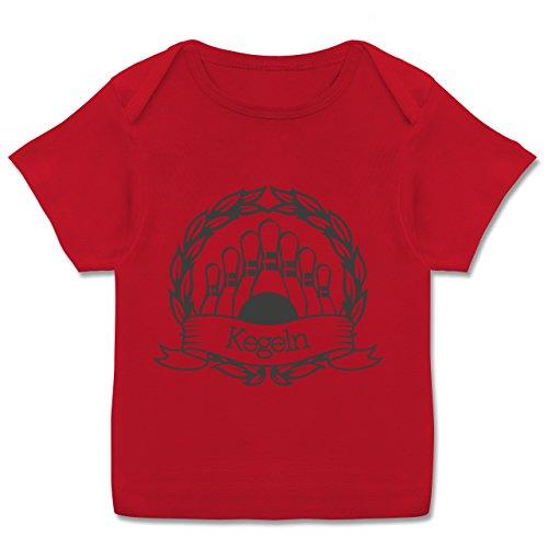 Sport Baby - Kegeln Lorbeerkranz - 68-74 (9 Monate) - Rot - E110B - Kurzarm Baby-Shirt für Jungen und Mädchen