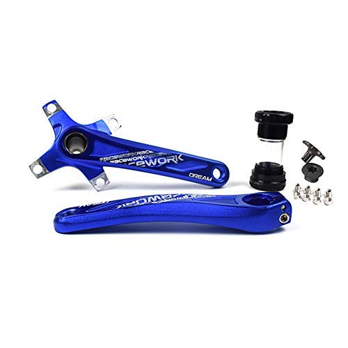 SMLLOW Kurbel Arm Kurbelgarnitur Fahrrad Kurbel Set Road Mountain Bike Kurbelsatz mit Innenlager und Kettenblatt Schrauben Kurbel Arm BCD 104 170 mm (Blau)