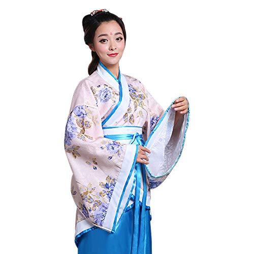 KINDOYO Damen Kostüm Altertümlich Chinesischen Stil Hanfu Traditionellen Kostüm Prinzessin Chaise Kleider Aufführungen Cosplay Kostüm, Blau/3XL