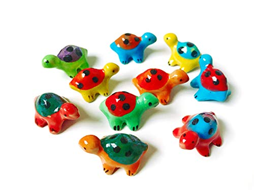 Tyga_Thai Markenset 4-TLG. Miniatur-Figur aus Keramik, bemalt, Schildkröten-Design, dekorativ, Mehrfarbig (Miniatur-Keramik-Schildkröte) -