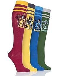 Sock Shop Damen Harry Potter Hausabzeichen Baumwoll-Kniestrümpfe Packung mit 4