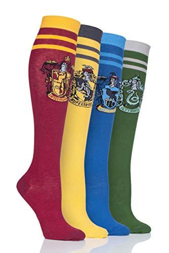 SockShop Women Harry Potter House Badges Cotton Knee High Socks Pack of 4