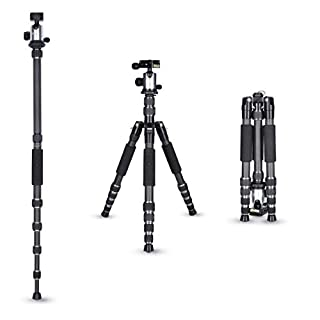 Rollei Carbon traveler tripod in titanium with ball head - compatible with DSLR & DSLM cameras - incl. monopod, Acra Swiss quick release plate & tripod bag