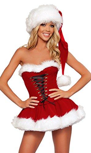 Baymate Frauen Weihnachts Kostüm Rückenfrei Kleid Cosplay Karneval -