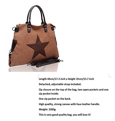 LeahWard® Groß Schule Taschen Damen Segeltuch Schultertasche Handtasche A4 160163 160164 TAUPE Schultertasche