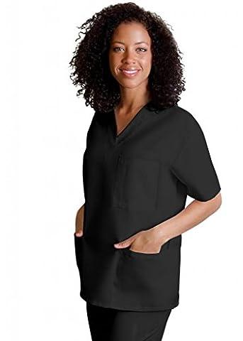 Adar Medical Unisex V-Neck Tunic 3 Pocket Scrub Top - 601 - Black - 2X