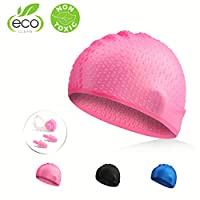 Traling Swimming Cap Adult, Silicone Swim Hat for Men and Women Ladies Long Hair, Vintage Retro Style Bathing Cap, Keep Hair Dry with Nose Clip and Ear Plugs (Pink)