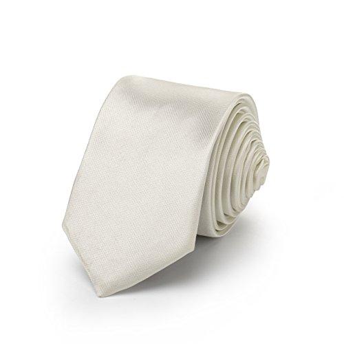 Rusty Bob - Krawatte schmal/dünn 3cm-5cm für Herren [auch für Kinder/Jungen] (uni,nicht gestreift) aus Polyester glänzt wie Seide - Silber