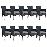 dasmöbelwerk 10er Set Polyrattan Sessel Stuhl stapelbar Rattan Gartenmöbel schwarz Palermo Stapelstuhl
