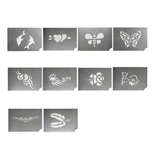 IPOTCH 10 Stück Tier Blume Gesichtsfarbe Schablonen Körperfarbe Schablonen Gesicht Malvorlage Wiederverwendbare Tattoo Schablonen Sprühen Malerei ()