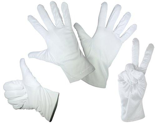 1 Paar feine Mikrofaser Handschuhe – Weiss – In den Größen: S M L XL – Zum Reinigen / Putzen, Verkleiden für Karneval – Handschuh für ein Pantomime Kostüm gut geeignet (Extra Large)