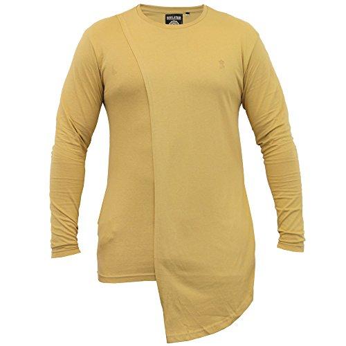 Herren Lange Linie Mit Kapuze Jersey Oberteil Soul Star Halbrunder Saum T-shirt Mode Neu Camel - BRITAPKB
