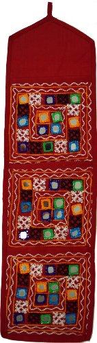 Guru-Shop Spiegel Wandtasche mit 3 Fächern, Weinrot, Baumwolle, Farbe: Weinrot, 70x20 cm, Wandtaschen & Wandbehänge