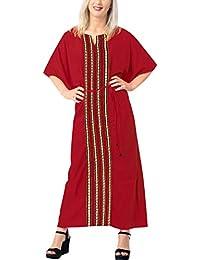LA LEELA Donne Rayon Kaftan Tunica Solido Plain Kimono Libero Formato Lungo  Maxi Partito Caftano Vestito 8c56a0dee68