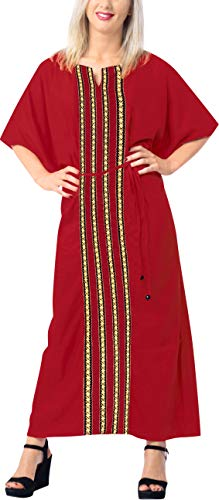 LA LEELA Frauen Damen Rayon Kaftan Tunika Plain Kimono freie Größe Lange Maxi Party Kleid für Loungewear Urlaub Nachtwäsche Strand jeden Tag Kleider Rot_X736 -