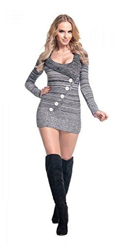 Glamour Empire. Donna Pullover scollo V Lungo maglione manica lunga. 912 Melange Nero