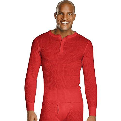 Hanes Men'S X-Temp153 Thermal Henley X-Temp Red 2Xl -