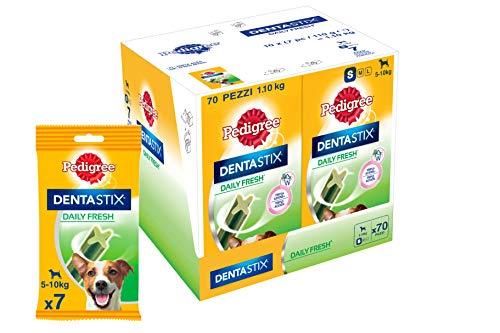Pedigree Dentastix Fresh Snack per la Igiene Orale (Cane Piccolo 5-10 kg) 110 g 7 Bastoncini - 10 Pacchetti (70 Bastoncini in totale)