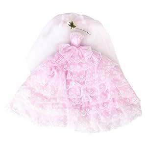 Braut Kleidung mit Schleier Hochzeit Prinzessinnen Kleider leicht Pink