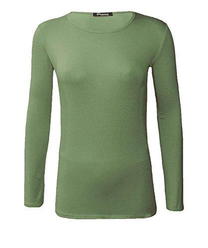 haute for DIVA NEUF pour dames femmes uni col rond manches longues haut t-shirt UK 8-24 Kaki