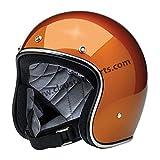 Casque Jet Ouvert Bonanza Biltwell Gloss Copper approuvé Dot Helmet Biker Look Style Universel x Genre Custom Vintage Rétro Années 70Tout-Terrain Street 2XL Cuivre