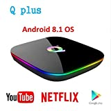 3CTECH USB3.0 Q Plus Allwinner H6 Smart TV Box Android 9.0 OS TV Box 4 GB de RAM 32 GB ROM WiFi LAN 6K H.265