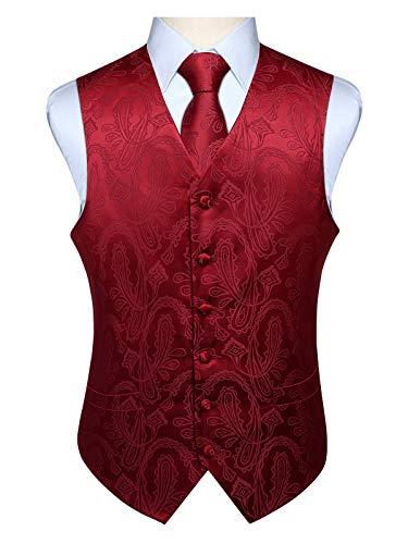 Hisdern Manner Paisley Floral Jacquard Weste & Krawatte und Einstecktuch Weste Anzug Set, Burgund, Gr.-XL (Brust 48 Zoll) -