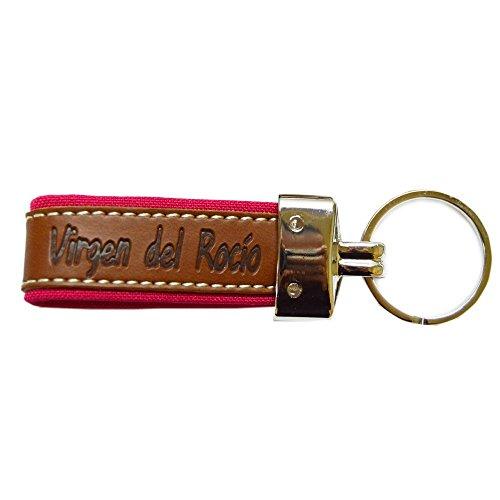 Llavero Virgen del Rocio Tira Cuero Fucsia 9,5CM