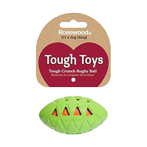 Rosewood 40326 bissresistenter, robuster Rugbyball aus Gummi für Spielereien innen und außen, Spielzeug für kleine Hunde, Länge: 9cm