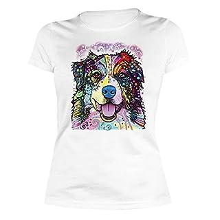 Damen T-Shirt mit buntem Hunde Motiv - Australian Shepherd - Hundebild - Geschenk für alle Tierliebhaber und Hundefans - weiss