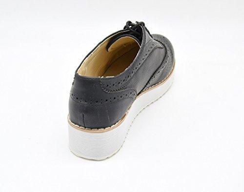 SHP77C * Derbies Derby Compensées Ajourées avec Semelle Blanche et Lacets - Mode Femme Noir