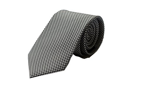 Krawatte Hahnentritt Muster schwarz weiss grau, Luxus Krawatte aus 100% Seide, Original Marken Krawatte von Pietro Baldini